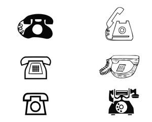 Set of old vintage retro phones on white background. Vector illustration
