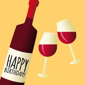 Bottle of wine with glasses, happy birthday vector illustration card