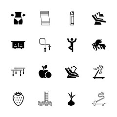 Collection of 16 healthy filled and outline icons
