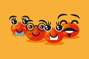 Red nose day design with cartoon cute and happy red noses over orange background, colorful design. vector illustration