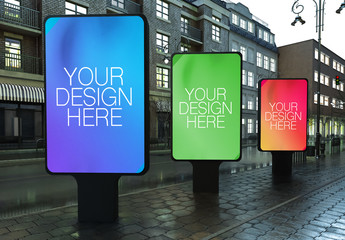 3 Outdoor Kiosk Advertisements Mockup