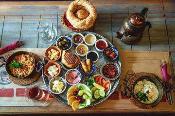 Rich and delicious traditional Turkish breakfast