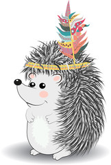 collection of cute and funny Indian animals. A stylized illustration of an Indian hedgehog with feathers