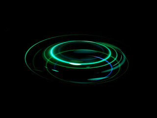 Glow effect. Ribbon glint. Abstract rotational border lines. Power energy. LED glare tape. .Luminous shining neon lights cosmic abstract frame. Magic design round whirl. Swirl trail effect.