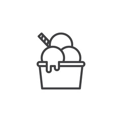 Ice cream in bowl outline icon. linear style sign for mobile concept and web design. Three ice cream scoops simple line vector icon. Symbol, logo illustration. Pixel perfect vector graphics