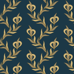 Seamless floral golden and blue pattern.