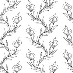 Seamless floral black and white pattern.