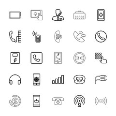 Collection of 25 phone outline icons
