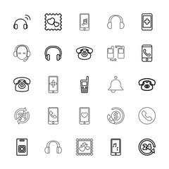 Collection of 25 call outline icons