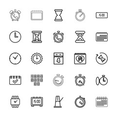 Collection of 25 time outline icons