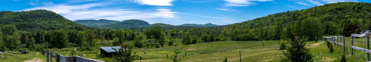 Panoramic view of a summer scene in the Adirondacks Mountains