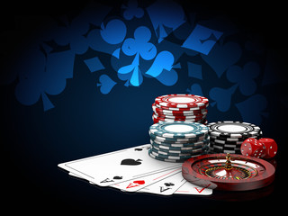 Casino chips stacks with roulette, play cards and dice. 3d Illustration on blue background
