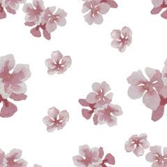Watercolor cherry flower seamless pattern