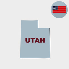 Map of the U.S. state of Utah on a grey background. American flag, state name