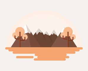 mountains landscape over white background, orange design. vector illustration