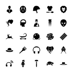 Collection of 25 head filled icons