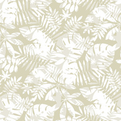 Tropical seamless pattern in natural gray color