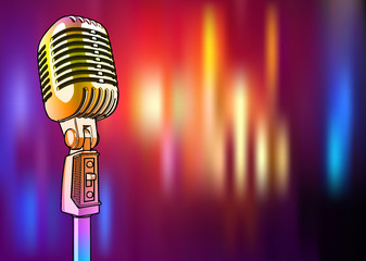 Golden microphone on a bright multi-colored background - vector image. A shiny metallic microphone of yellow color is surrounded by colored light spots similar to lighting a disco, concert or stage