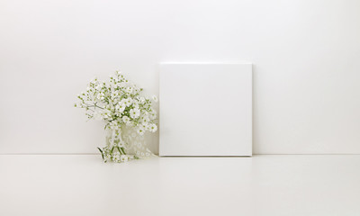 Square canvas mockup, white flowers, styled stock photo