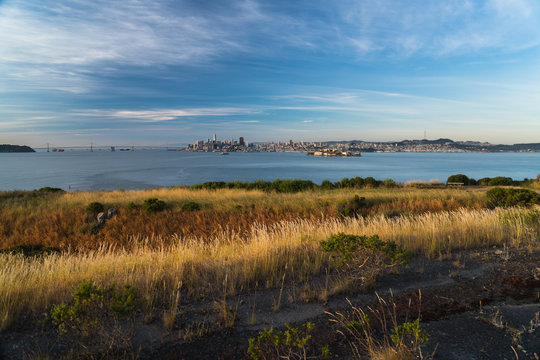 Sunrise view of San Francisco as seen from Angel Island in the bay