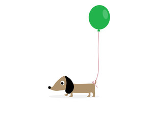 Dog with a green balloon