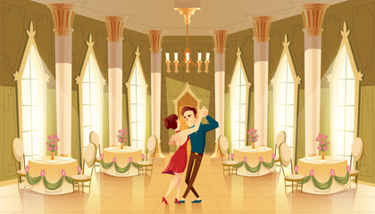 Vector hall with dancers, interior of ballroom. Big room with chandelier, columns for royal reception in luxury medieval palace. Marriage, wedding in castle, cartoon characters