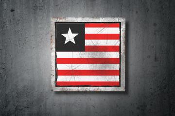 Liberia flag in concrete wall