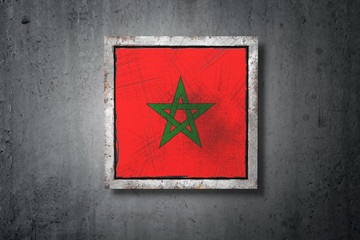 Morocco flag in concrete wall