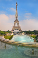 view of the Eiffel Tower from Trocadero gardens, Paris
