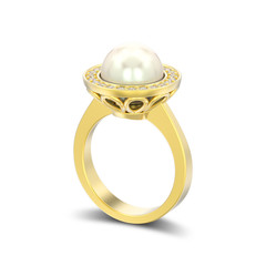 3D illustration isolated gold diamond engagement wedding ring with pearl with shadow