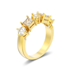 3D illustration isolated yellow gold decorative ring with different round and square diamond with shadow