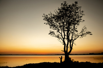 Silhouette of Travel of Photographer woman,take photo with DSLR camera.Young traveller girl standing under big tree beside lake,sunset background in Thailand.Travel and Photographer concept