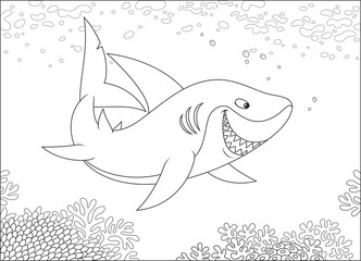 Grey reef shark swimming over a coral reef in a tropical sea, black and white vector illustration in a cartoon style for a coloring book
