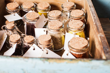 Spices in vintage bottles