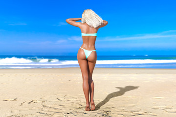 3D beautiful blonde woman swimsuit bikini on sea beach. Summer rest. Blue ocean background. Sunny day. Conceptual fashion art. Seductive candid pose. Realistic render illustration.