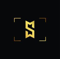 Initial letter MS SM MW WM SW WS minimalist art monogram shape logo, gold color on black background