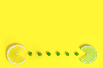Food creative concept background, top view