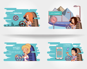 people driving with driver safely icons vector illustration design