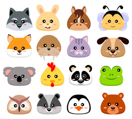 Cute cartoon animals head. Wolf, hare, horse, bee, fox, walrus, cat, dog, koala, chicken, panda, frog, owl, chipmunk, penguin, bear