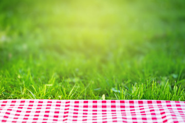 Red checkered tablecloth on green grass background