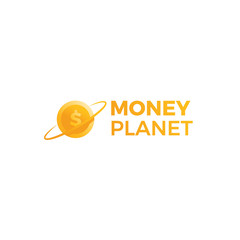 Money planet logo. Gold dollar coin in finance space.