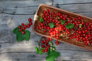 Viele rote Johannisbeeren in Holzschale auf rustikalem Holz  im Sonnenlicht