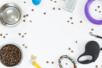 Toys and accessories for pets dog on white background. Top view of dog food, leash, collar, ball and bowl, flat lay, copy space