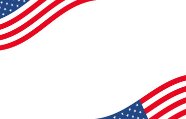 American banner. USA border background with waving flag motif. Motion dynamic concept design