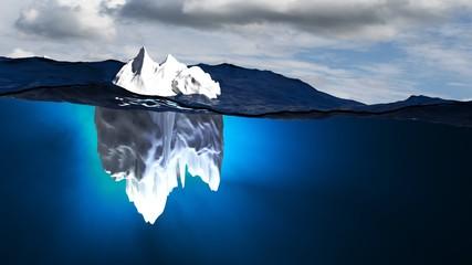 Iceberg in stormy sea | Concept danger