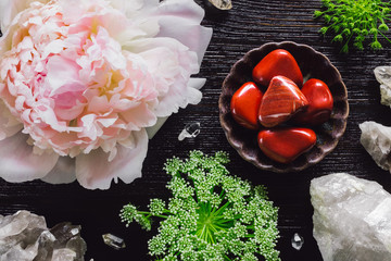 Red Jasper and Quartz with Peony and Queen Anne's Lace