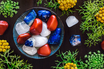 Bowl of Red, White and Blue Stones with Wild Carrot and Clustered Everlasting