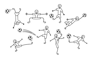 Composition of cartoon drawings of  little men. Football and soccer.  Positive black and white background. Vector graphics.