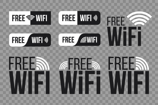 Creative vector illustration of free wifi icon symbol set isolated on transparent background. Art design wireless network for wlan free access. Abstract concept graphic wave signal element