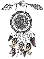 Illustration of dream catcher with arrow, native american poster